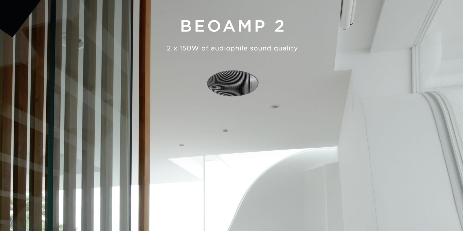 BeoAmp 2 provides an easy installation to power passive speakers from Bang & Olufsen.