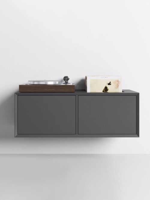 A stunning piece of wall mounted furniture with a turntable sitting on top.
