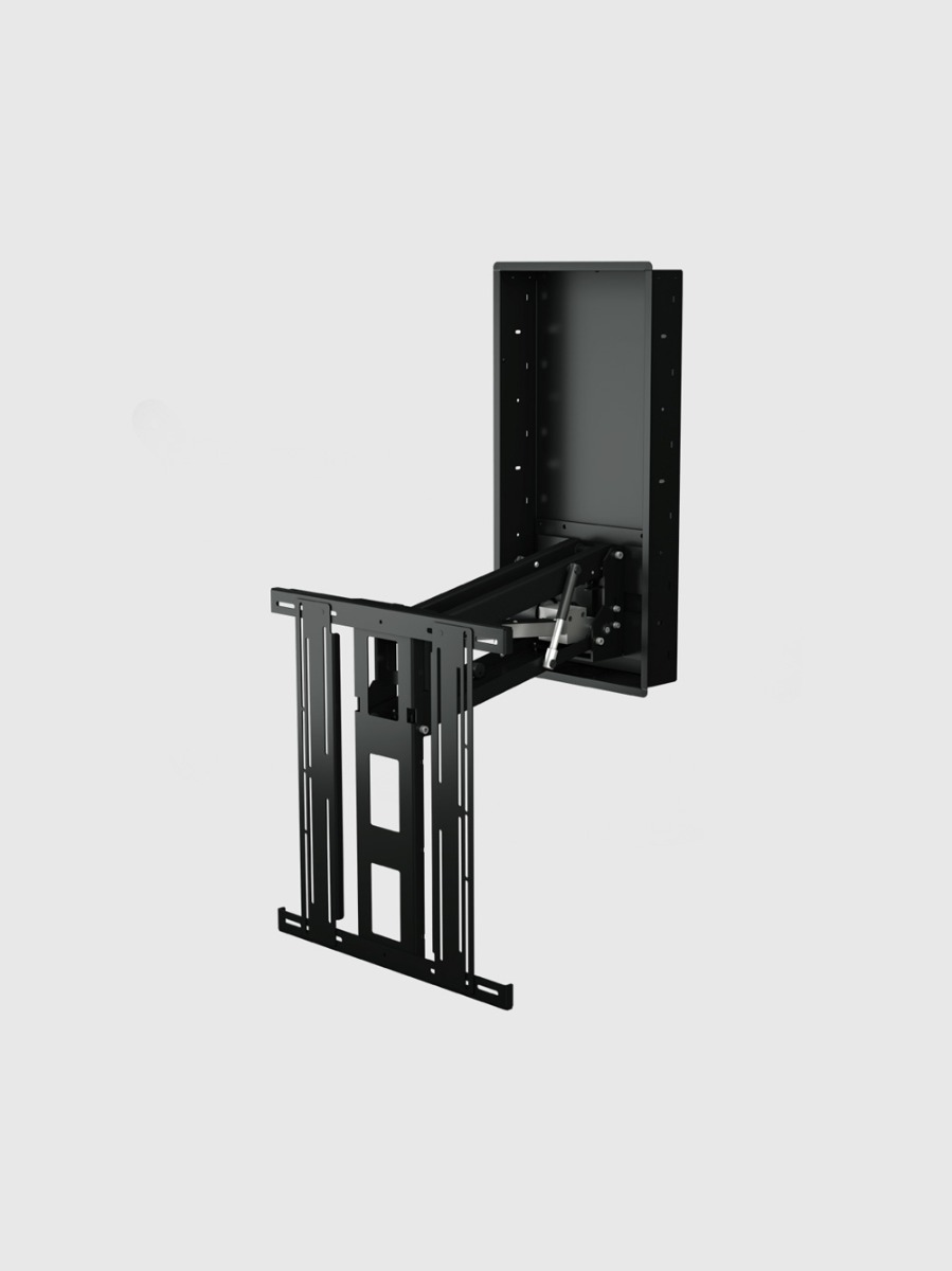 The Electric Advance and Drop TV Wall Mount with In Wall Box is a one of a kind bracket designed to move a flat screen vertically to a more desirable viewing height.