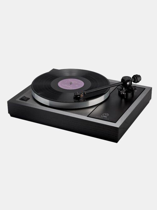 The stunning Linn LP12 Majik turntable in dark black wood.