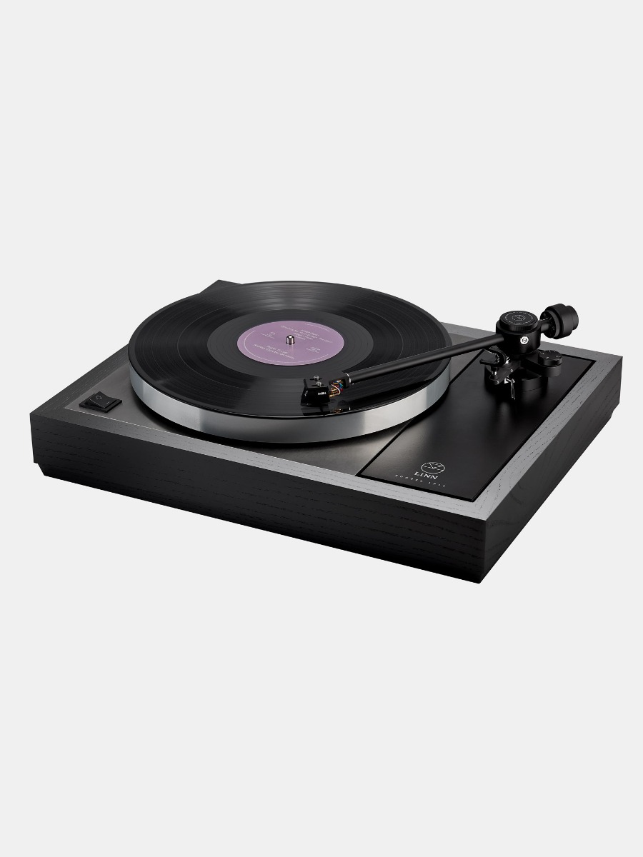 The stunning Linn LP12 Majik turntable in dark black wood.