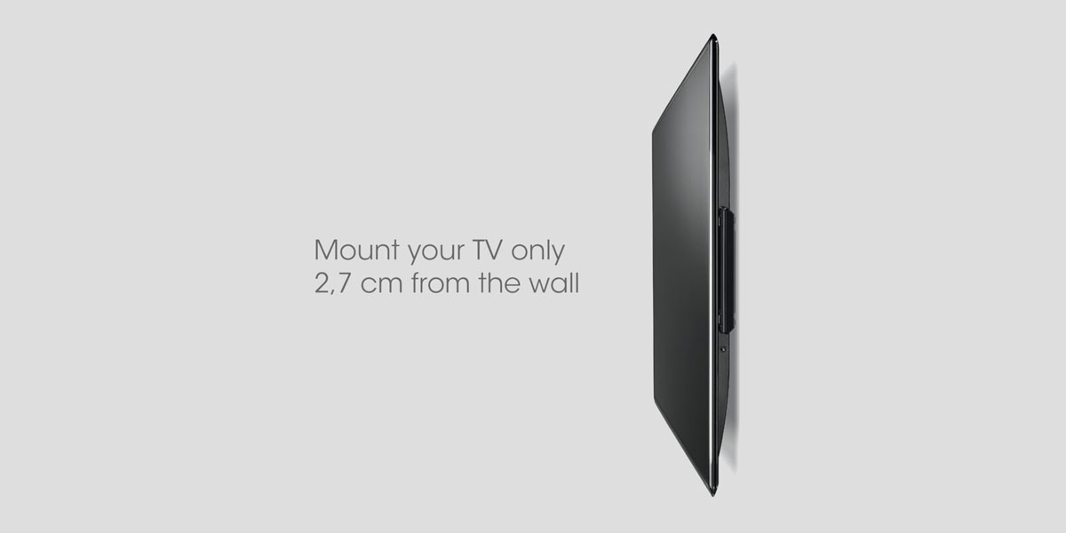 Mount your TV only 2.7cm from the wall with this wall bracket.